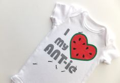 I Heart my ANT-ie Onesie (Watermelon red with Grays) 0-3M Baby Bodysuit -- Love my Aunt. $14.00, via Etsy.