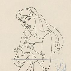 """Cleaned up animation drawing of Aurora, created by Marc Davis, and the scene from the finished film. 