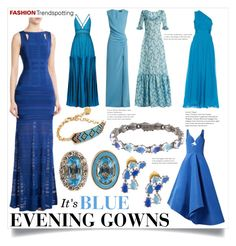 """""""Fashion Trendspotting - Blue Evening Gowns"""" by bonnielindsay ❤ liked on Polyvore featuring Hervé Léger, Rosie Assoulin, Missoni, Versace, The Vampire's Wife, Diane Von Furstenberg, Alison Lou and Shourouk"""