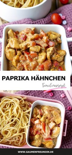 Schnelle Hähnchen-Paprika-Pfanne - ein einfaches Familienrezept Pepper and chicken pan with tomatoes, basil and wholemeal pasta - a delicious family recipe and ideally suited for meal prep - a food bl Clean Eating Recipes, Lunch Recipes, Healthy Dinner Recipes, Vegetarian Recipes, Easy Family Meals, Quick Easy Meals, Healthy Chicken Recipes, Recipe Chicken, Crockpot Recipes
