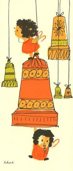Vintage Mid Century Christmas Card designed by Walter Erhard. Bells Angels Orange Green