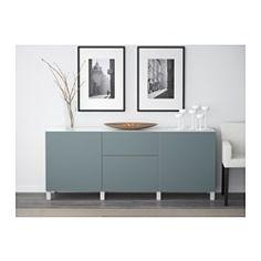 """BESTÅ Storage combination with drawers, white, Valviken gray-turquoise - 70 7/8x15 3/4x29 1/8 """" - drawer runner, push-open - IKEA"""