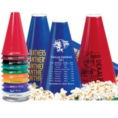 These 8 inch high lightweight plastic Pep Phones make great cheer aids. Put the white plastic caps on the ends and fill them with snacks like popcorn.