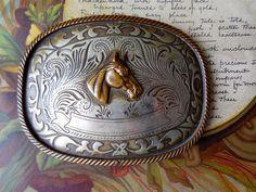 Fancy Vintage Western Belt Buckle German Silver & Brass