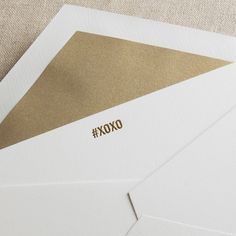 Engraved #XOXO Correspondence Card: Say it with a touch of sass—courtesy of one word preceded by our favorite social media insignia—when you send an engraved #XOXO along with a most thoughtful handwritten note. Paired with our gold lustre envelope lining for extra shimmer.