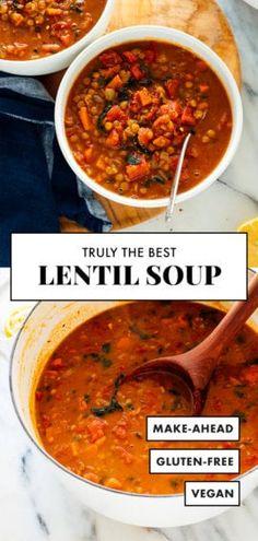 Vegan Lentil Soup, Lentil Soup Recipes, Best Lentil Soup Recipe Ever, Chicken Lentil Soup, Lentil Salad, Lentil Curry, Vegetarian Cookbook, Vegan Vegetarian, Vegetarian Recipes Lentils