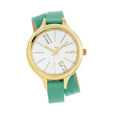 WATCH turquoise, double strap, gold-s.steel