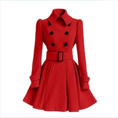 Solid Color Belted Turn-Down Collar Wool Dress Coat Double Breasted Trench Coat, Belted Coat, Coatdress, Red Wool Coat, Wool Coats, Women's Coats, Mode Mantel, Cute Coats, Trench Coats