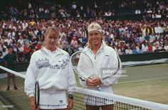 West German tennis player Steffi Graf and Czech born American tennis player Martina Navratilova posed together before the final of the Women's Singles tournament at the Wimbledon Lawn Tennis Championships at the All England Lawn Tennis Club in Wimbledon, London on 8th July 1989. Steffi Graf would go on to defeat Navratilova 6-2, 6-7, 6-1 to become champion.