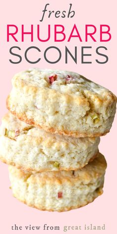 Rhubarb Scones ~ these pretty scones loaded with little bits of juicy rhubarb make a perfect breakfast or afternoon tea-time treat. #easy #recipe #scones #rhubarb #biscuit #breakfast #brunch #tea #baking #best #British #teatime #hightea #afternoontea #flakey #moist #mothersday Rhubarb Desserts, Rhubarb Recipes, Rhubarb Scones, Breakfast Recipes, Dessert Recipes, Tea Biscuits, Perfect Breakfast, How Sweet Eats, Baking Recipes