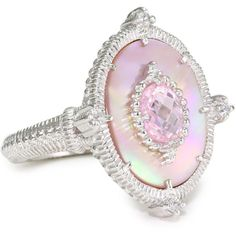 """Judith Ripka """"Oasis"""" Ring ($300) ❤ liked on Polyvore featuring jewelry, rings, accessories, pink, judith ripka jewelry, pink ring, judith ripka, judith ripka rings ve pink jewelry"""