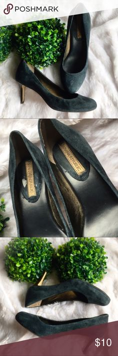 "Banana Republic Suede Navy Blue Heels In good used condition. Signs of wear on the bottoms from obviously walking on them and on the backs from rubbing against my dress pants. Super comfortable fit and they do fit true to size. Rounded toe and a 2 3/4"" heel. I do not keep shoe boxes so no shoe box with purchase. I'm only looking to sell at this time so sorry but no trades. I've listed these at the lowest price point I can possibly accept so my listing price is firm. Banana Republic Shoes…"