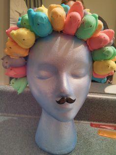Our Peep creation for Easter. Peeps, toothpicks, styrofoam head, acrylic paint and a moustache.