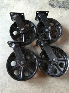 8 x 2 Black Steel Caster Set. 4 Swivel Caster by MMCaster on Etsy