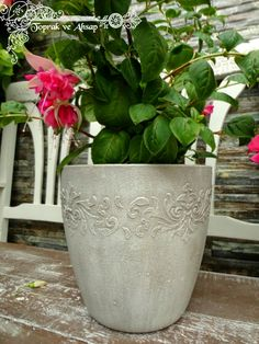 toprak ve ahşap: Tanrım beni baştan yarat :) Garden Art, Decoupage, Planter Pots, Design, Home Decor, Stencil, House, Altered Tins, Vases