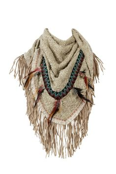 Scarf Fringe Feather Beige