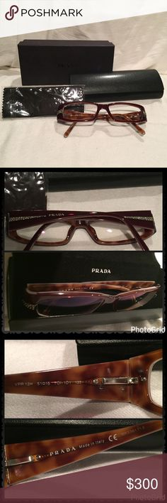 Prada Red w/ Crystals Glasses Frames EUC Prada Red w/ Crystals Glasses Frames EUC  These do have my prescription, but store got it wrong.  It kept on giving me headaches so wore it maybe 5 times.  Excellent Condition (Please see photos for condition) and cloth glass cleaner never used.  This style is no longer made, has clean simple design with a beautiful red burgundy to brown color depending on lighting.   Reasonable Offers Welcomed Prada Accessories Glasses