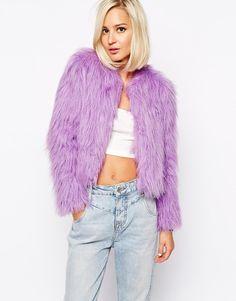 ASOS The Laden Showroom X Gemma Goldstone Fun Faux Fur Bomber Jacket in Lilac