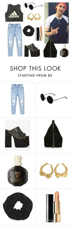 """""""you're the only exception"""" by sarahloup ❤ liked on Polyvore featuring adidas, Jeffrey Campbell, Topshop, Anna Sui, Chanel, 5sos, michaelclifford and 5secondsofsummer"""