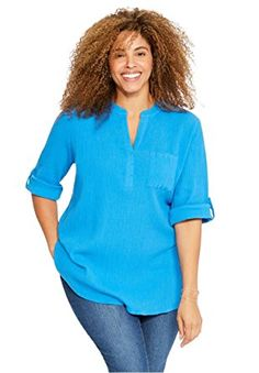 Women's Plus Size Split Neck Gauze Tunic relaxed fit moves as you do comfortably length with slight high/low hem falls to mid thighs button tab convertible sleeves, with armholes shaped for comfort Mandarin collar crossover V-neck High Low Shirt, Mandarin Collar, Plus Size Outfits, Plus Size Women, Fashion Brands, Tunic Tops, Fashion Outfits, My Style, Casual