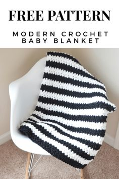free crochet pattern  Modern blanket | newborn baby | modern | diy | monochrome | easy | chunky | for beginners | quick