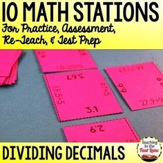 Dividing Decimals Stations - This set of 10 math stations all focus on the grade standards for dividing decimals. With 10 different centers to practice with your students will be experts in no time flat while playing these partner math games. Dividing Decimals, Multiplying Fractions, Equivalent Fractions, Multiplication, 4th Grade Math Test, Fourth Grade, Division Math Games, Math Stations, Math Centers