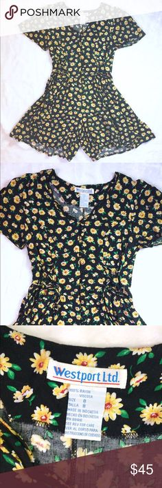 90s Sunflower Romper Amazing 90s vintage sunflower romper from Westport Ltd. Button front, lace ties on the front on either side of the buttons and a tie in the back. Flowy sleeves and legs. Runs small. In excellent vintage condition. Make me an offer. Discount on bundles of two or more. Vintage Pants Jumpsuits & Rompers