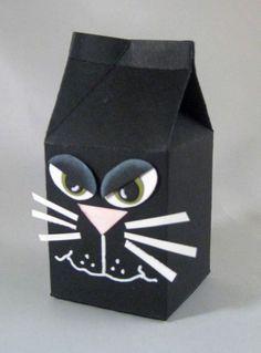 Mini Milk Carton Black Cat