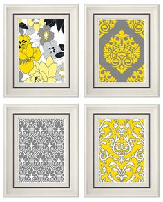 Set of Four Modern Vintage Gray/Yellow Wall Art - Print Set - Home Decor - 8x11 Prints (Unframed). $35.00, via Etsy.
