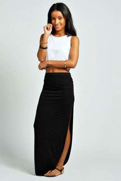 4a34d87d3 Micha Ruched Side Jersey Maxi Skirt at boohoo.com Pencil Skirt Work, Maxi  Skirt