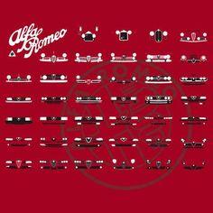 'Alfa Romeo Family' Throw Pillow by AutomotiveArt Alfa Romeo Brera, Alfa Romeo Gtv6, Alfa Romeo Giulia, Alfa Romeo Logo, Alfa Romeo Cars, Alfa Alfa, Family Poster, Alfa Romeo Spider, Ex Machina