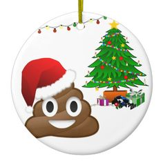 christmas poo emoji ceramic ornament