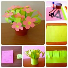 Art And Craft Flowers, Art N Craft, Flower Crafts, Diy Flowers, Paper Flowers, Preschool Crafts, Easter Crafts, Papa Tag, Nursing Home Crafts