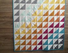 Geometric Baby Blanket Triangle baby Quilt by FelixFunhouse