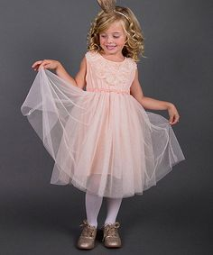 Another great find on #zulily! Pink Rosette Tulle Dress - Toddler & Girls by Mia Belle Baby #zulilyfinds