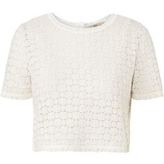 Orla Kiely Flower Lace Stitch Reversible Crop Top ($195) ❤ liked on Polyvore featuring tops, t-shirts, shirts, crop tops, white, lace shirt, white lace top, flower shirt, stitch t shirt and t shirts