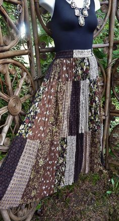 Patchwork 3 tiered gypsy broomstck skirt  brown by LamplightGifts
