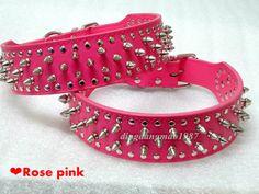 Rose Pink Leather Spikes Dog Collars Pitbull Mastiff Bulldog Terrier S-XL $16.99