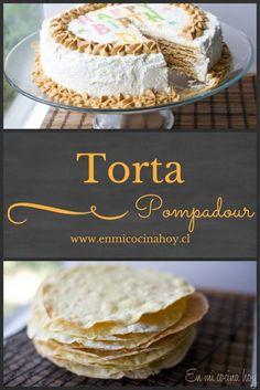 Torta Pompadour Cookie Desserts, Just Desserts, Torta Pompadour, Sweet Recipes, Cake Recipes, Chilean Recipes, Chilean Food, Pastry Cake, Vegan Cake