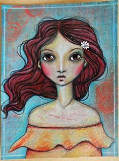 """Original OOAK Mixed Media acrylic colored pencil """"Daisy"""" A Kennedy portrait woman red teal yellow white"""