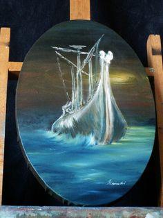 Öl Gemälde Handgemalt modern Argonauten Schiff Impressionismus Leinwand Hajewski