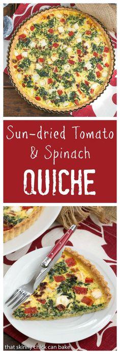 Sun-dried Tomato and Spinach Quiche   A memorable Mediterranean Quiche @lizzydo #SundaySupper: