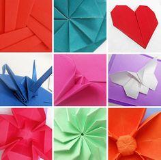origami - detalles de distintos plegados en papel
