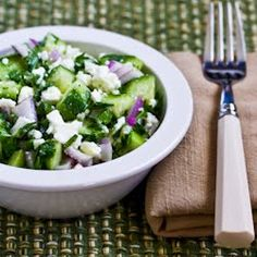 Recipe for Cucumber, Onion, and Parsley Salad with Feta
