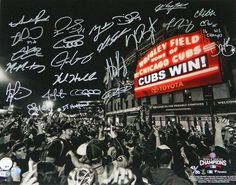daecf0fbaa 2016 Chicago Cubs Team signed 2016 World Series Wrigley Field  Cubs Win  marquee  photo. This team photo is autographed by 23 members of the 2016 World ...