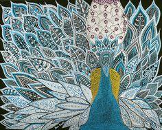 Peacock 16x20 Mixed Media Original-Black Art by MirnaEverett