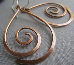 Copper Hammered Earrings/ Copper Wire Earrings/ Big Copper Earrings/Artisan Earrings/ Tribal Earrings by mese9 on Etsy https://www.etsy.com/listing/129225084/copper-hammered-earrings-copper-wire