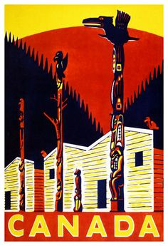 Canada 1950 Totem Pole Vintage Poster Art Print Retro Style Canadian Travel Advertisement Free US Post Low EU post by CharmCityPosters on Etsy