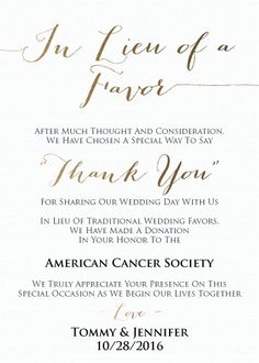 Wedding Favor Donation Card In Lieu Of Favors By CupcakeGraphics1