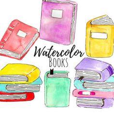 Watercolor clip art - Book Clip Art - School Clip Art- kid clip art- Hand drawn Clip Art Commercial Use Book Clip Art, Book Art, Watercolor Books, Book Club Reads, Simple Collage, School Clipart, Back To School, Art School, Book Worms